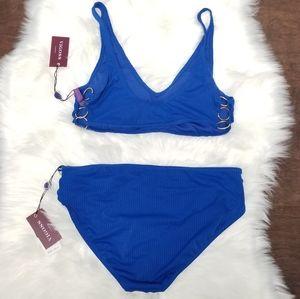 Vigoss Women's 2pc Blue Gold Chain Bikini